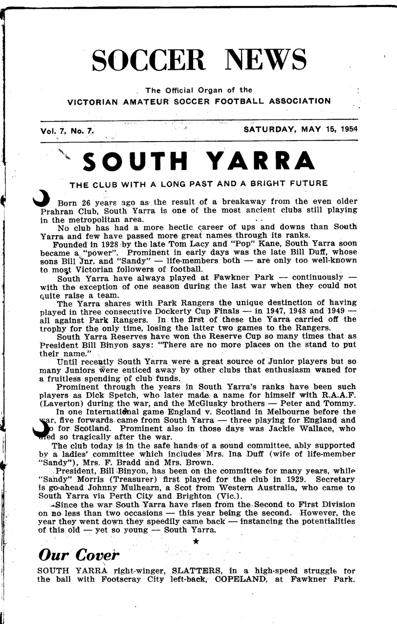 South Yarra SC the club with a long past & bright future! Article: Sat 15th May, 1954